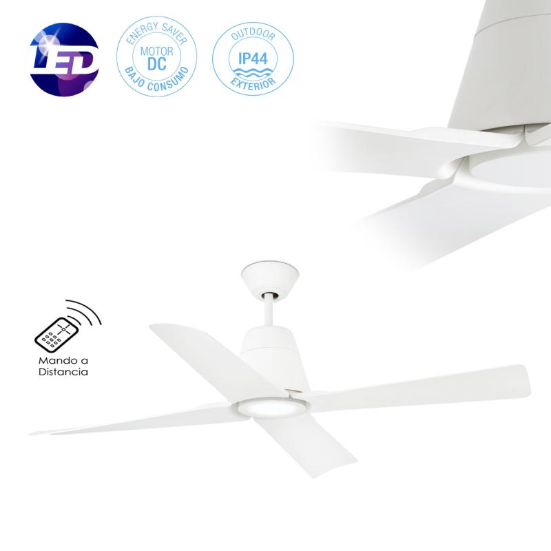 Ventilador Typhoon FARO blanco IP44 130cm Ø + Kit de luz