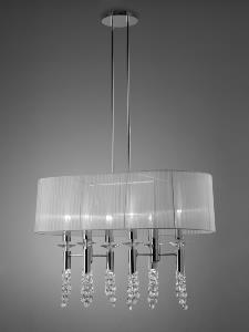 Colgante 12 luces Tiffany Cromo.    MANTRA