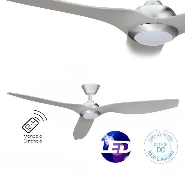 Ventilador de techo delfos niquel fabrilamp 132 cm - Ventilador techo silencioso ...