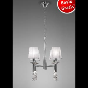 Lampara 4 luces Tiffany Cromo.    MANTRA