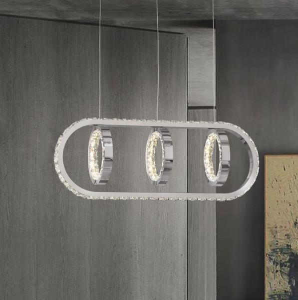 Lampara Monaco Acontract-luz. 3 aros + E. Oval LED