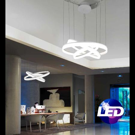 Colgante Circ Leds-C4. Disponible en 2 y 3 aros LED. Grok