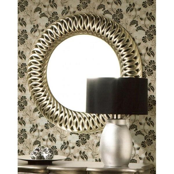 Espejo redondo aros plata 90cm for Espejos redondos grandes