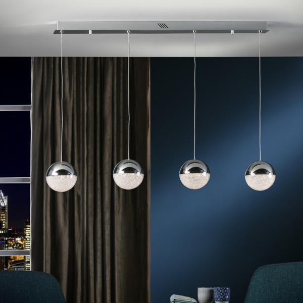 Lampara Sphere Schuller - lineal 4 bolas cromo LED