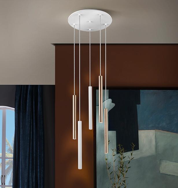 Lampara varas schuller 5 colgantes luz led blanco mate - Lamparas schuller ...