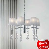 Lampara 6 luces Tiffany Cromo.    MANTRA